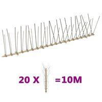 vidaXL Set bandă cu țepi antipăsări cu 4 rânduri 20 buc. plastic 10 m