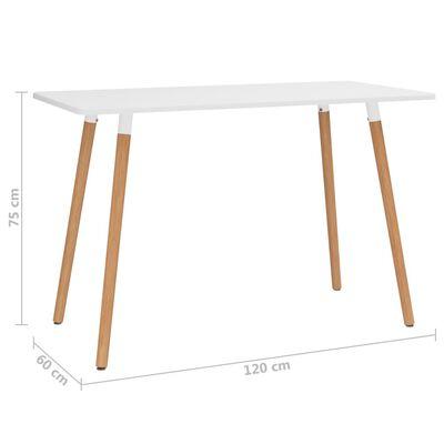 vidaXL Masă de bucătărie, alb, 120x60x75 cm, metal