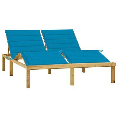 vidaXL Șezlong dublu cu perne albastre, lemn de pin tratat