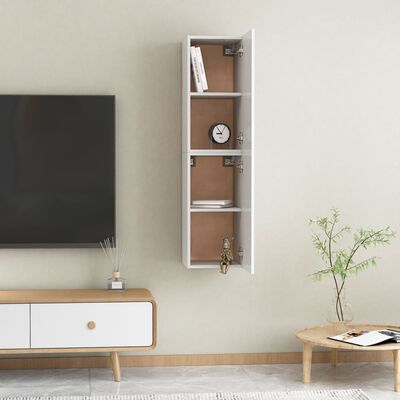 vidaXL Comode TV, 2 buc., alb extralucios, 30,5x30x60 cm, PAL