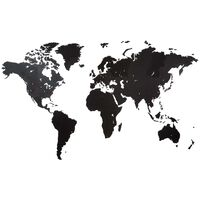 MiMi Innovations Decor perete harta lumii Giant negru 280x170cm lemn