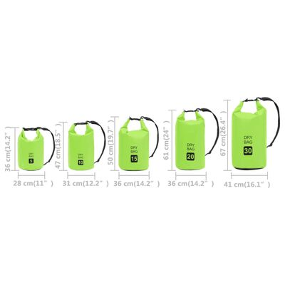 vidaXL Rucsac impermeabil, verde, 15 L, PVC