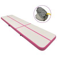 vidaXL Saltea gimnastică gonflabilă cu pompă roz 800x100x15 cm PVC