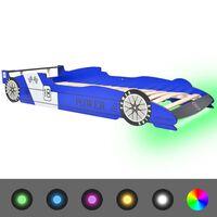 vidaXL Pat copii mașină de curse, cu LED, 90 x 200 cm, albastru