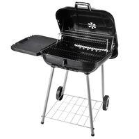 Barbecue Cu Carbune Si 2 Grilaje Raft Lateral Si Capac In Metal Negru