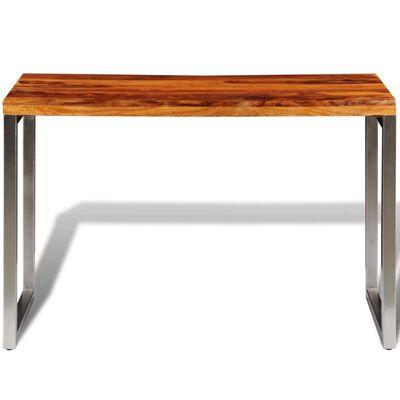 vidaXL Masă de bucătărie lemn masiv sheesham birou cu picioare de oțel