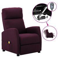 vidaXL Electric Massage Reclining Chair Purple Fabric (289713+327164)
