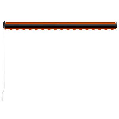 vidaXL Copertină retractabilă manual, LED, portocaliu/maro, 400x300 cm