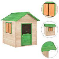 vidaXL Căsuță de joacă pentru copii, verde, lemn de brad