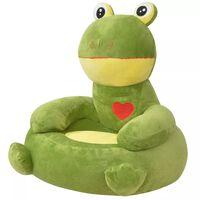 vidaXL Scaun pentru copii în formă de broască din pluș verde