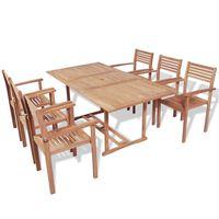 vidaXL Set mobilier de exterior, 7 piese, lemn masiv de tec