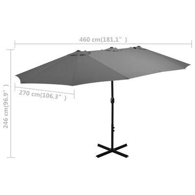 vidaXL Umbrelă de soare cu stâlp aluminiu, antracit, 460 x 270 cm