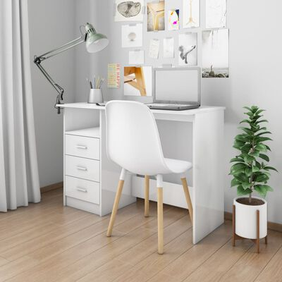 vidaXL Birou cu sertare, alb foarte lucios, 110 x 50 x 76 cm, PAL