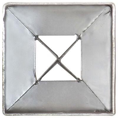 vidaXL Țăruși de sol, 2 buc., argintiu, 7x7x90 cm, oțel galvanizat
