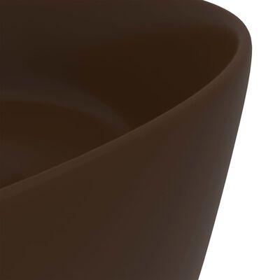 vidaXL Chiuvetă de baie lux maro închis mat 40x15 cm ceramică rotund