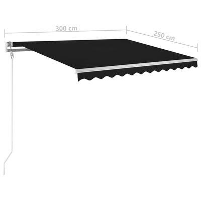 vidaXL Copertină retractabilă manual cu stâlpi, antracit, 3x2,5 m