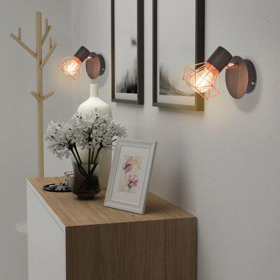 vidaXL Lampă de perete 2 buc, E14, negru și arămiu