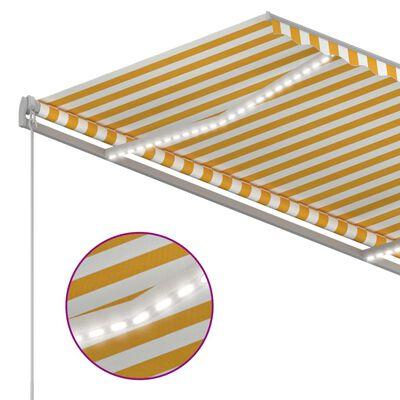 vidaXL Copertină retractabilă manual cu LED, galben&alb, 3x2,5 m