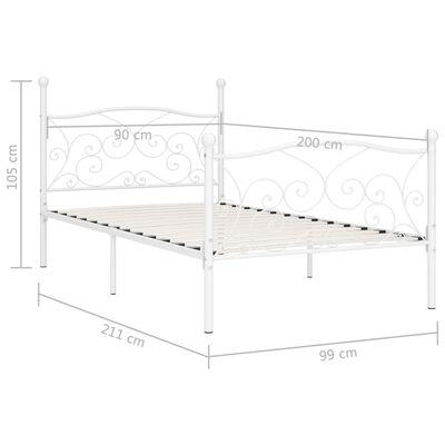vidaXL Cadru de pat cu bază din șipci, alb, 90 x 200 cm, metal