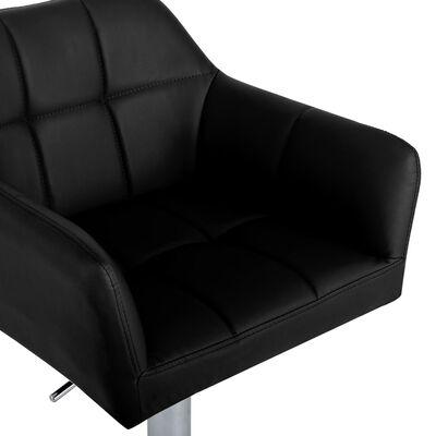 vidaXL Scaun de bar cu brațe, negru, piele ecologică