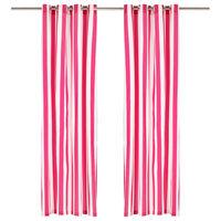 vidaXL Perdele cu inele metalice, 2 buc, dungi roz, 140x245 cm, textil