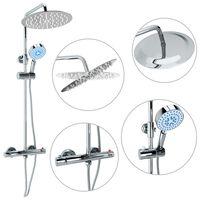vidaXL Set de duș cu două capete, cu termostat, oțel inoxidabil