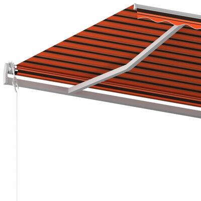 vidaXL Copertină retractabilă automat, stâlpi, portocaliu&maro, 6x3 m