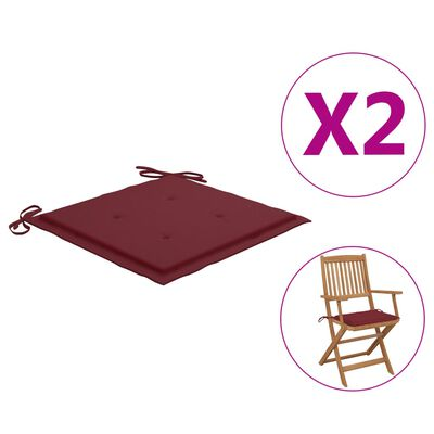 vidaXL Perne scaun de grădină, 2 buc., roșu vin, 40x40x4 cm, textil