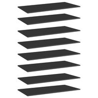 vidaXL Plăci bibliotecă, 8 buc. negru extralucios 80 x 20 x 1,5 cm PAL