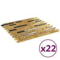 vidaXL Plăci mozaic autoadezive 22 buc. negru & auriu 30x30 cm sticlă