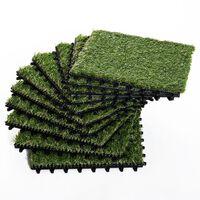Iarba Sintetica Pentru Gradina Set De 10buc 30x30cm Verde Inchis