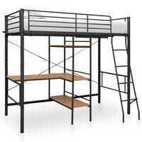 vidaXL Cadru de pat supraetajat cu masă, gri, 90 x 200 cm, metal