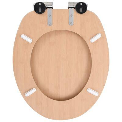 vidaXL Capac WC cu închidere silențioasă, MDF, design bambus
