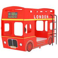 vidaXL Pat supraetajat, autobuz londonez, roșu, 90 x 200 cm, MDF