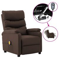 vidaXL Electric Massage Reclining Chair Brown Faux Leather (289691+327164)