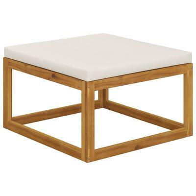 vidaXL Taburet de picioare, cu pernă alb crem, lemn masiv de acacia