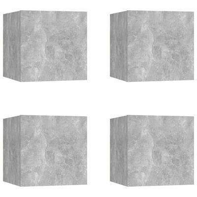 vidaXL Dulapuri TV montaj pe perete, 4 buc., gri beton, 30,5x30x30 cm