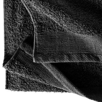 vidaXL Prosoape de saună, 5 buc., negru, 80 x 200 cm, bumbac, 450 gsm