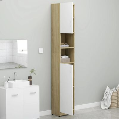 vidaXL Dulap de baie, alb și stejar Sonoma, 32x25,5x190 cm, PAL