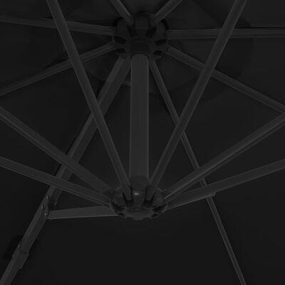 vidaXL Umbrelă în consolă cu stâlp din oțel, negru, 300 cm