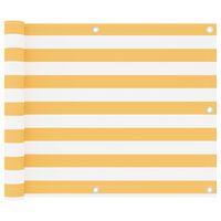 vidaXL Paravan de balcon, alb și galben, 75 x 500 cm, țesătură oxford