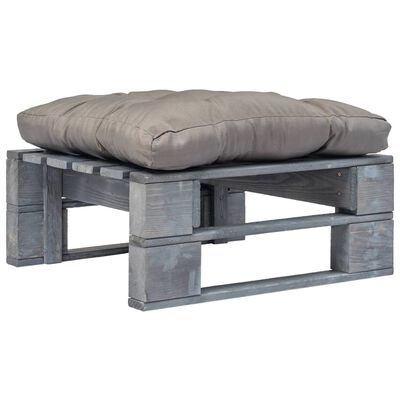 vidaXL Taburet de grădină din paleți cu pernă gri, lemn gri