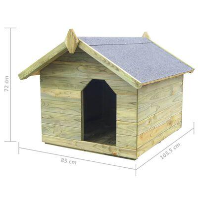 vidaXL Cușcă câine grădină, acoperiș detașabil, lemn pin tratat