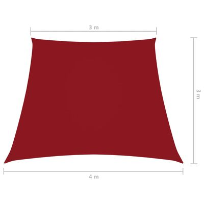vidaXL Parasolar, roșu, 3/4x3 m, țesătură oxford, trapez
