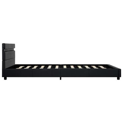 vidaXL Cadru de pat cu LED, negru, 140 x 200 cm, piele ecologică
