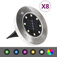 vidaXL Lămpi solare pentru sol, 8 buc., cu LED-uri, culoare RGB