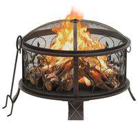 vidaXL Vatră de foc rustică, cu vătrai, 67,5 cm, oțel, XXL