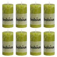 Bolsius Lumânări bloc rustice, 8 buc., verde crud, 100 x 50 mm
