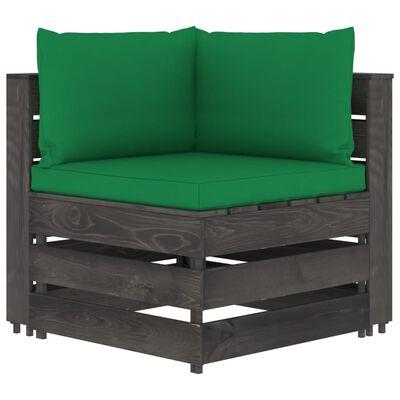 vidaXL Set mobilier grădină cu perne, 9 piese, gri, lemn tratat