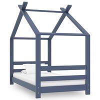 vidaXL Cadru de pat pentru copii, gri, 70 x 140 cm, lemn masiv de pin